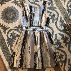 Black, silver, and white cocktail dress